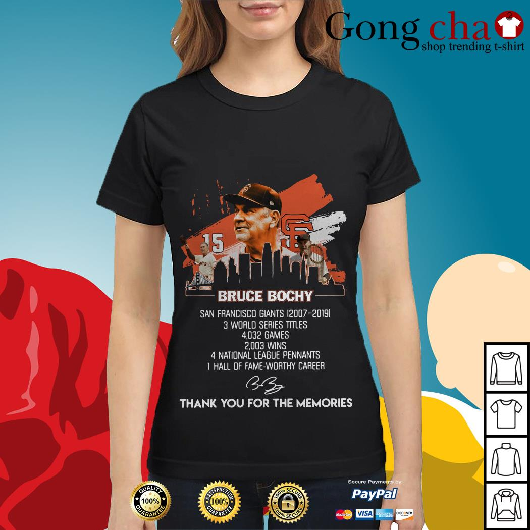 Bruce Bochy San Francisco Giants thank you for the memories Ladies tee