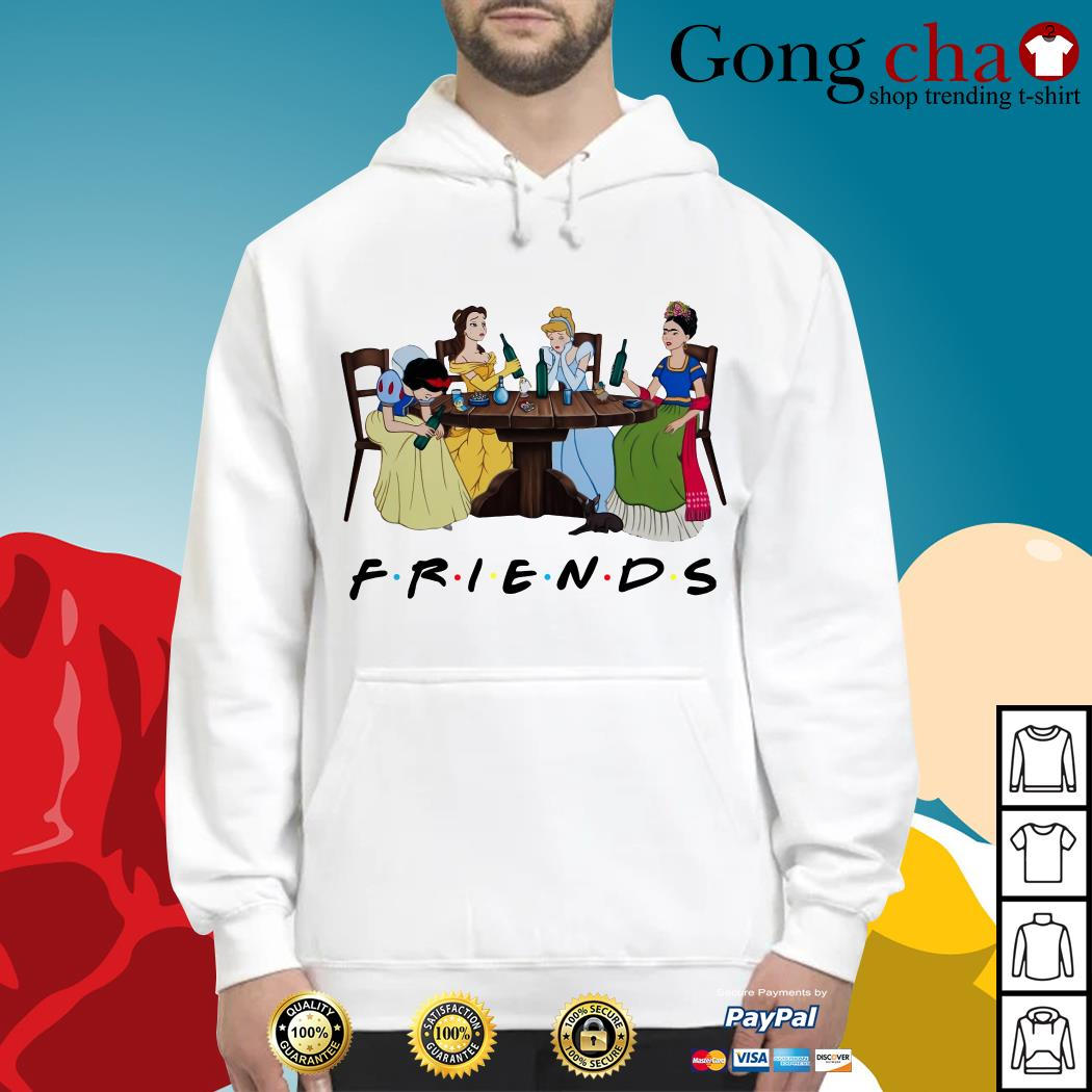 Frida Kahlo and Disney princesses drinking Friends TV show Hoodie