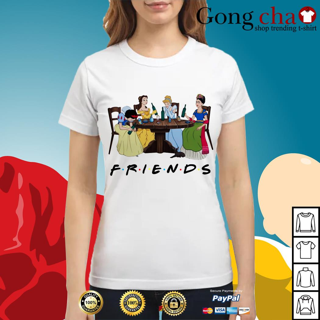 Frida Kahlo and Disney princesses drinking Friends TV show Ladies tee
