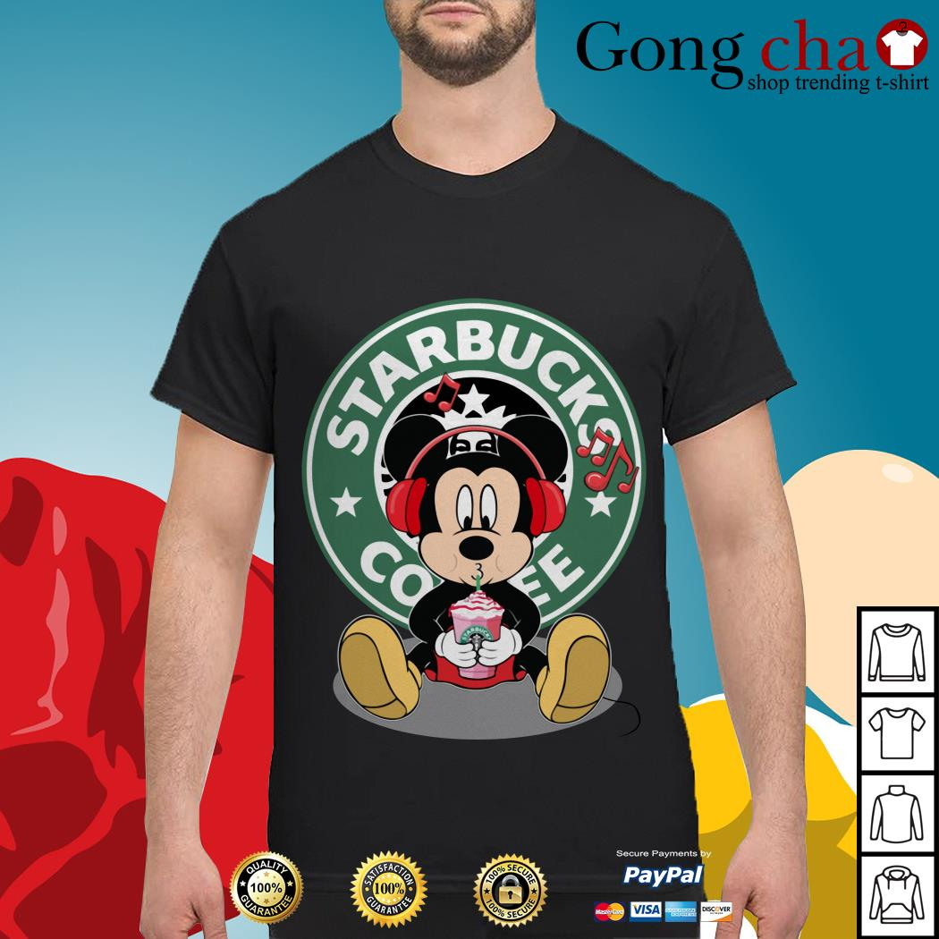 Mickey listening to music drink Starbucks coffee shirt