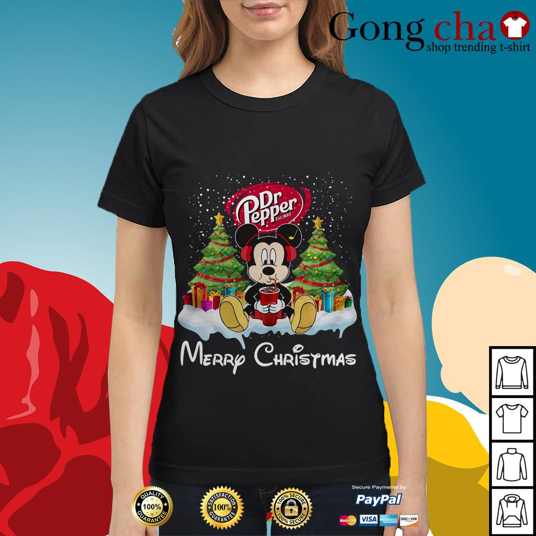 Mickey Mouse drink Dr Pepper Merry Christmas Ladies tee