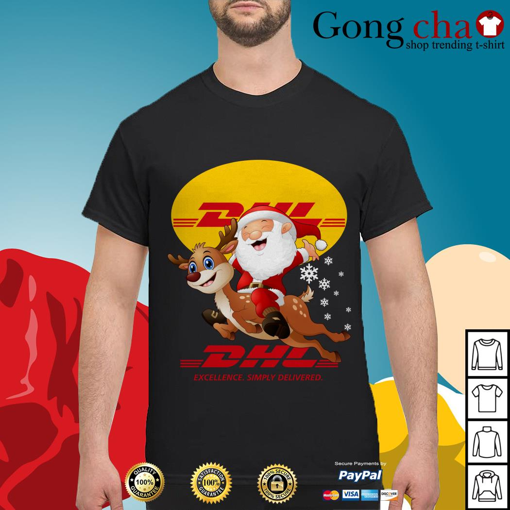 Santa Claus Riding Reindeer DHL Excellence Simply Delivered shirt, sweater