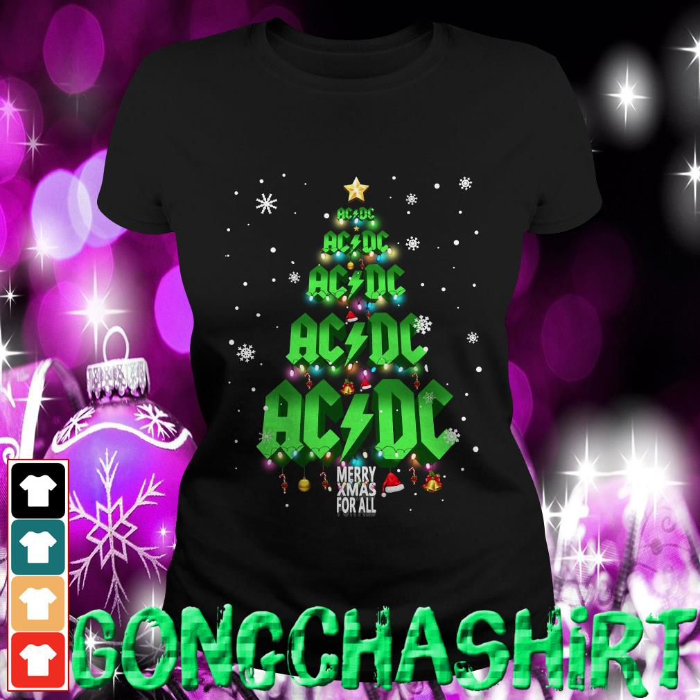 ACDC Merry Xmas for all Christmas tree Ladies tee