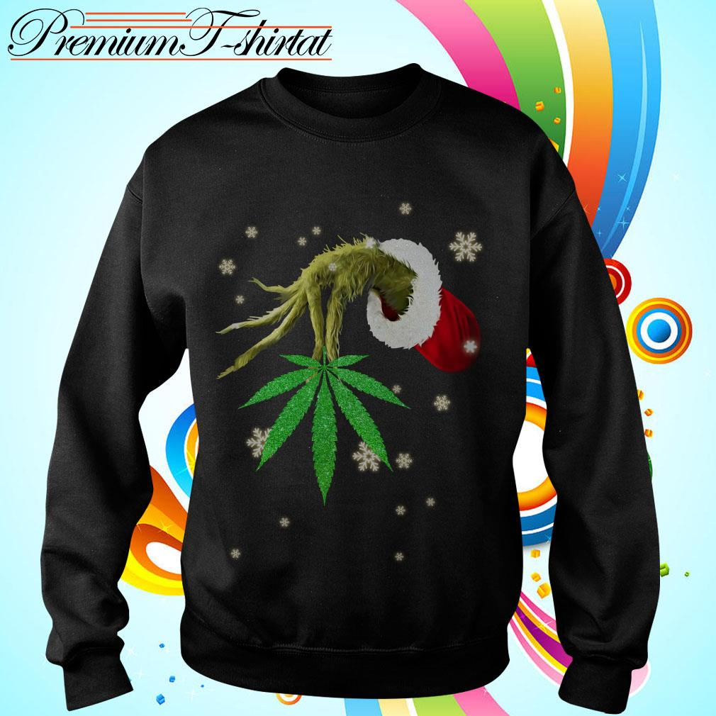 The Grinch holding a Cannabis leaves Christmas shirt