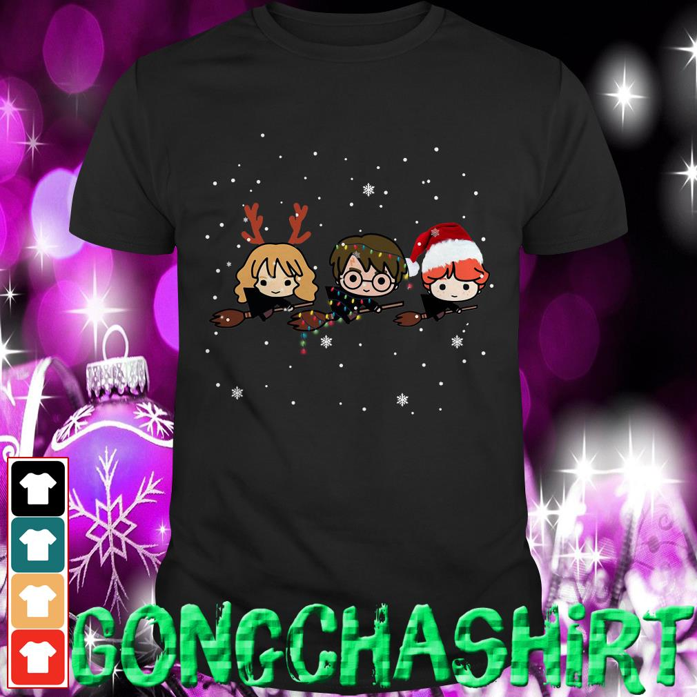 Harry Potter chibi riding a broom Christmas shirt, sweater and hoodie
