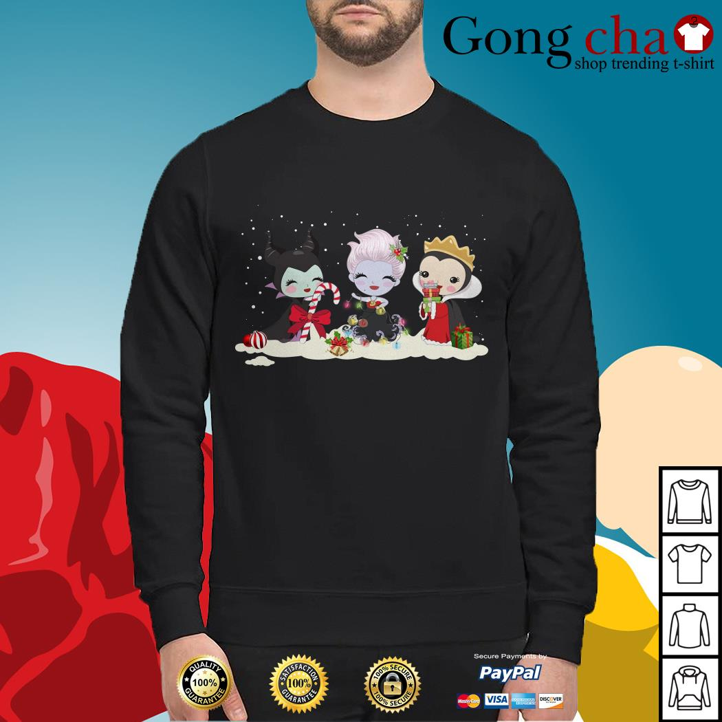 Maleficent Ursula and Evil Queen chibi characters Christmas Sweater