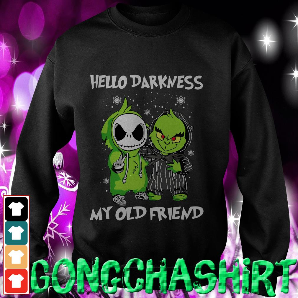 Baby Grinch and Jack Skellington hello darkness my old friend Sweater