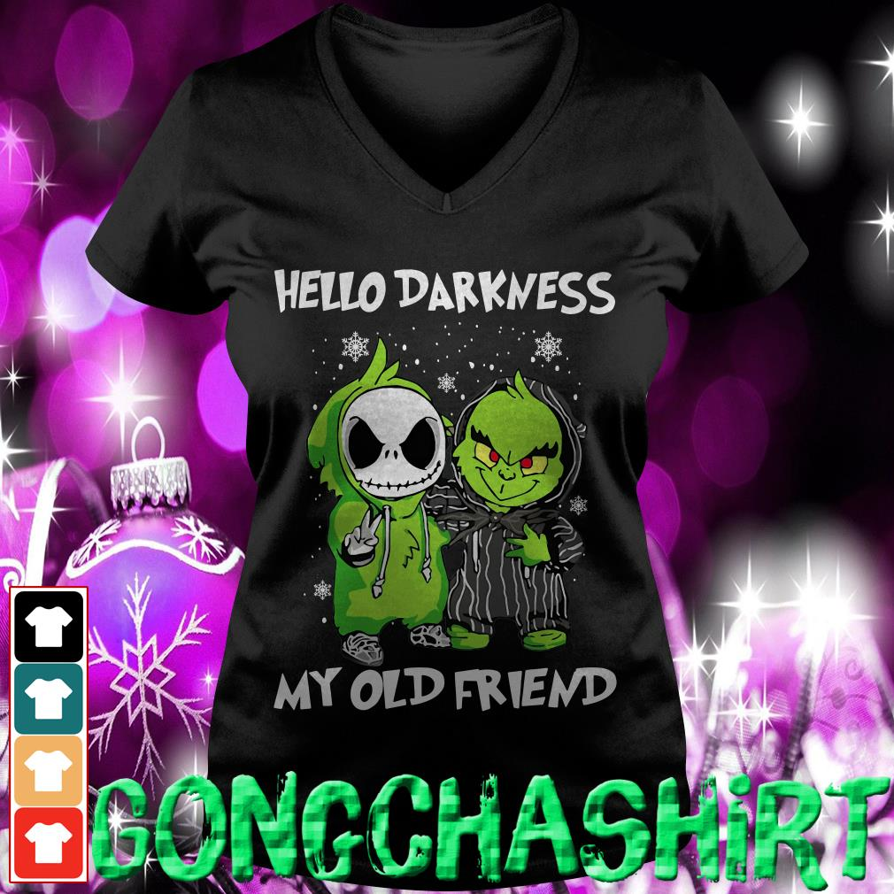 Baby Grinch and Jack Skellington hello darkness my old friend V-neck t-shirt