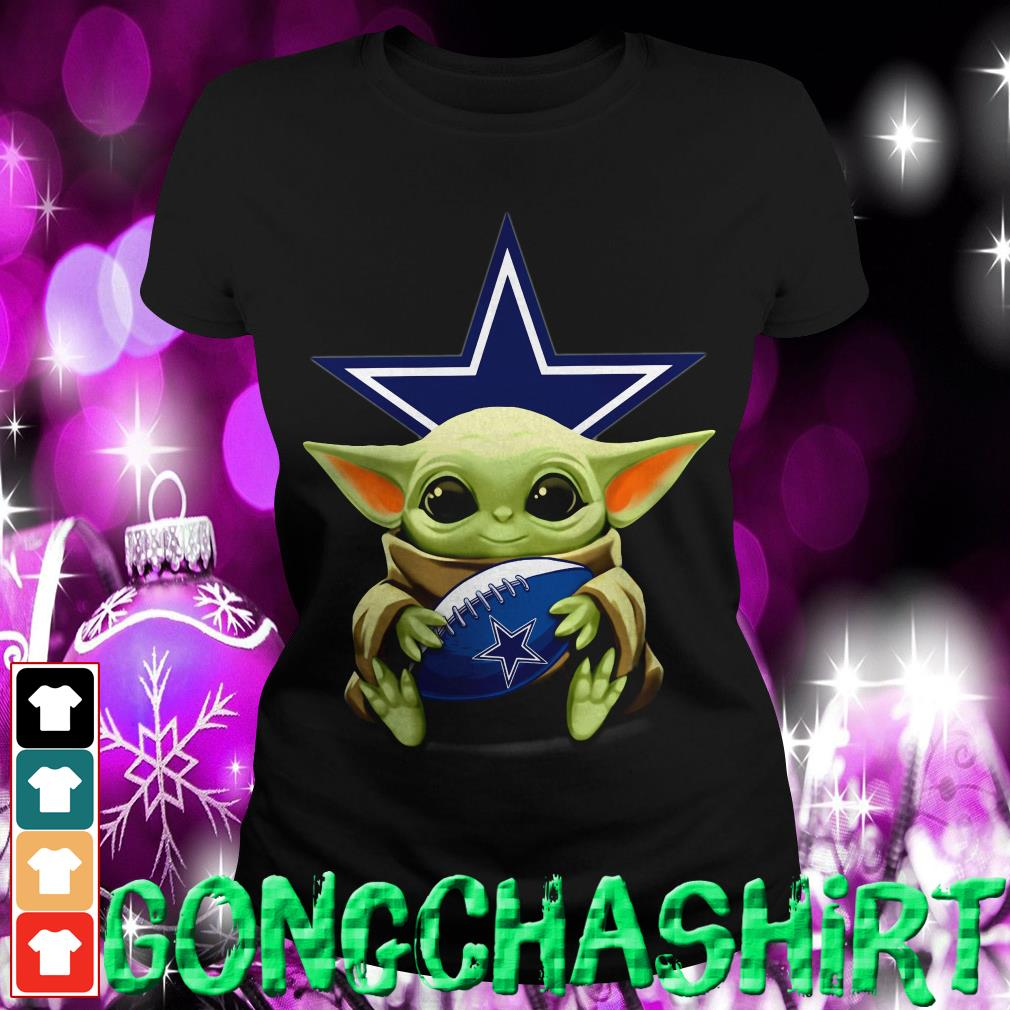 Baby Yoda hug Dallas Cowboys Ladies tee