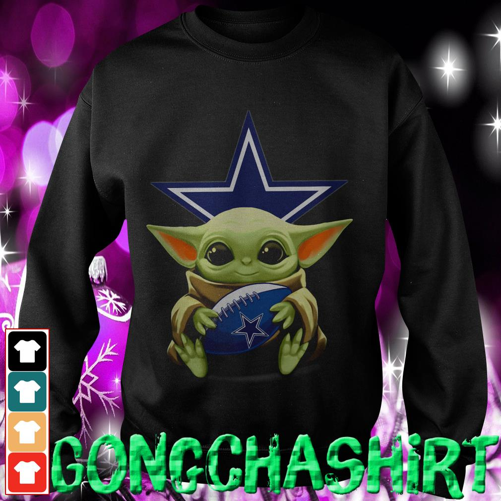Baby Yoda hug Dallas Cowboys Sweater