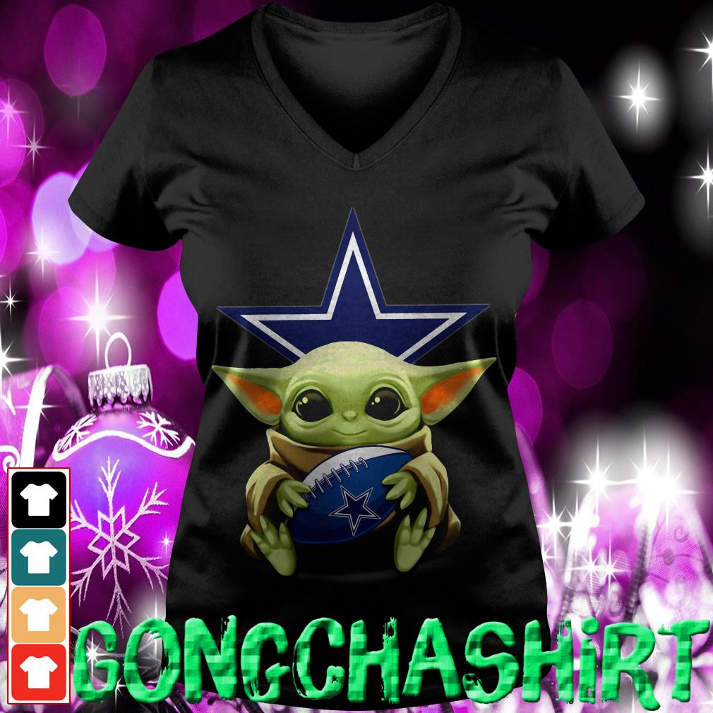 Baby Yoda hug Dallas Cowboys V-neck t-shirt