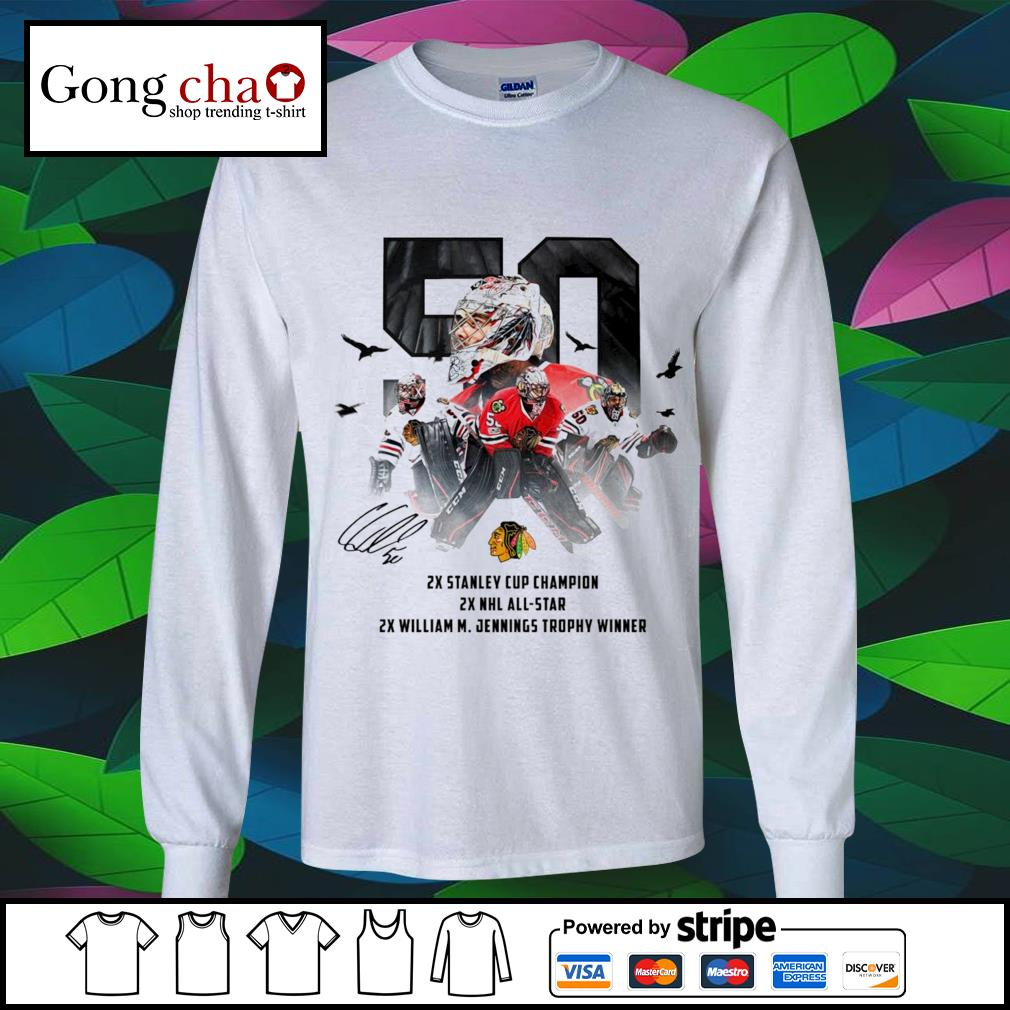 50 Corey Crawford Chicago Blackhawks 2x Stanley Cup Champion 2x NHL all-star 2x William M. Jennings trophy winner s longsleeve-tee