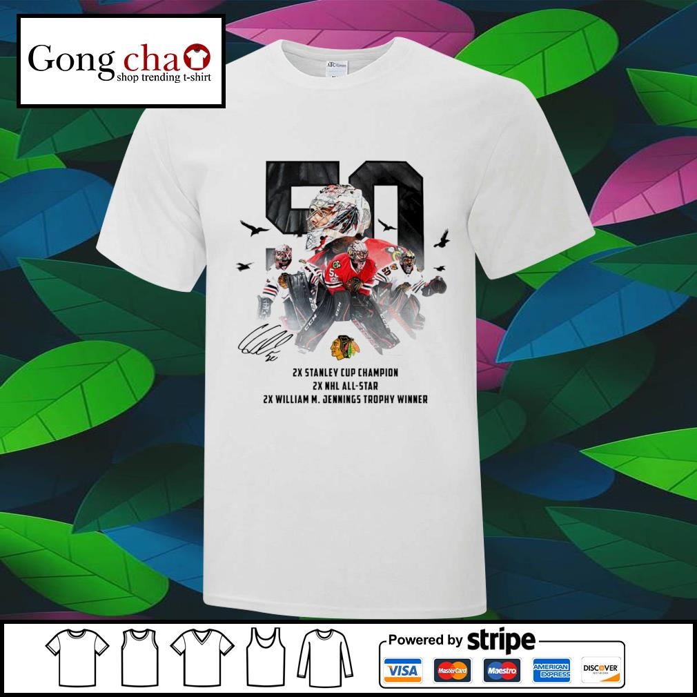 50 Corey Crawford Chicago Blackhawks 2x Stanley Cup Champion 2x NHL all-star 2x William M. Jennings trophy winner shirt