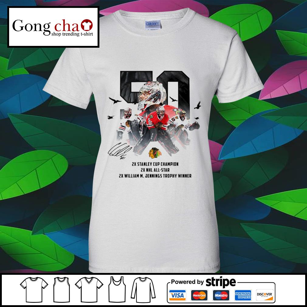 50 Corey Crawford Chicago Blackhawks 2x Stanley Cup Champion 2x NHL all-star 2x William M. Jennings trophy winner s v-neck-t-shirt