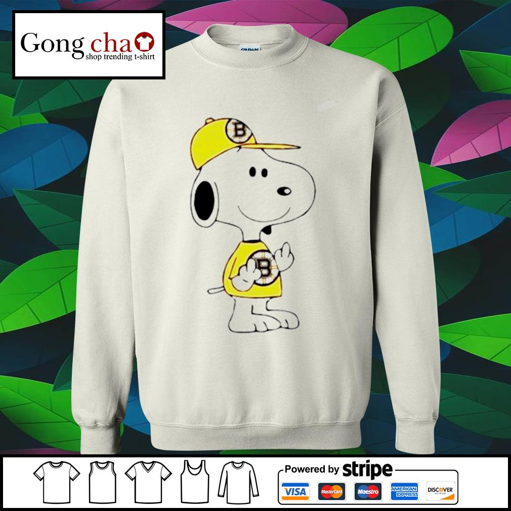 Snoopy Boston Bruins NHL middle fingers fuck you s sweater