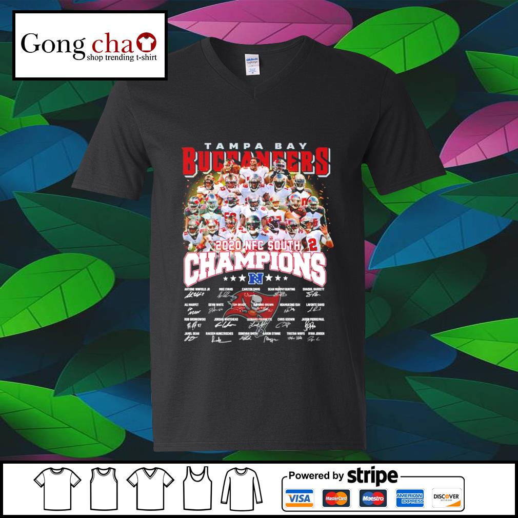 Tampa Bay Buccaneers 2020 NFC South Champions signatures s v-neck-t-shirt