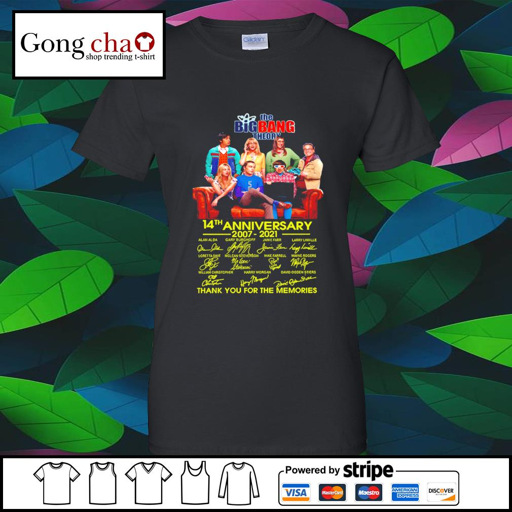 The Big Bang Theory 14th anniversary 2007 2021 thank you for the memories s ladies-tee