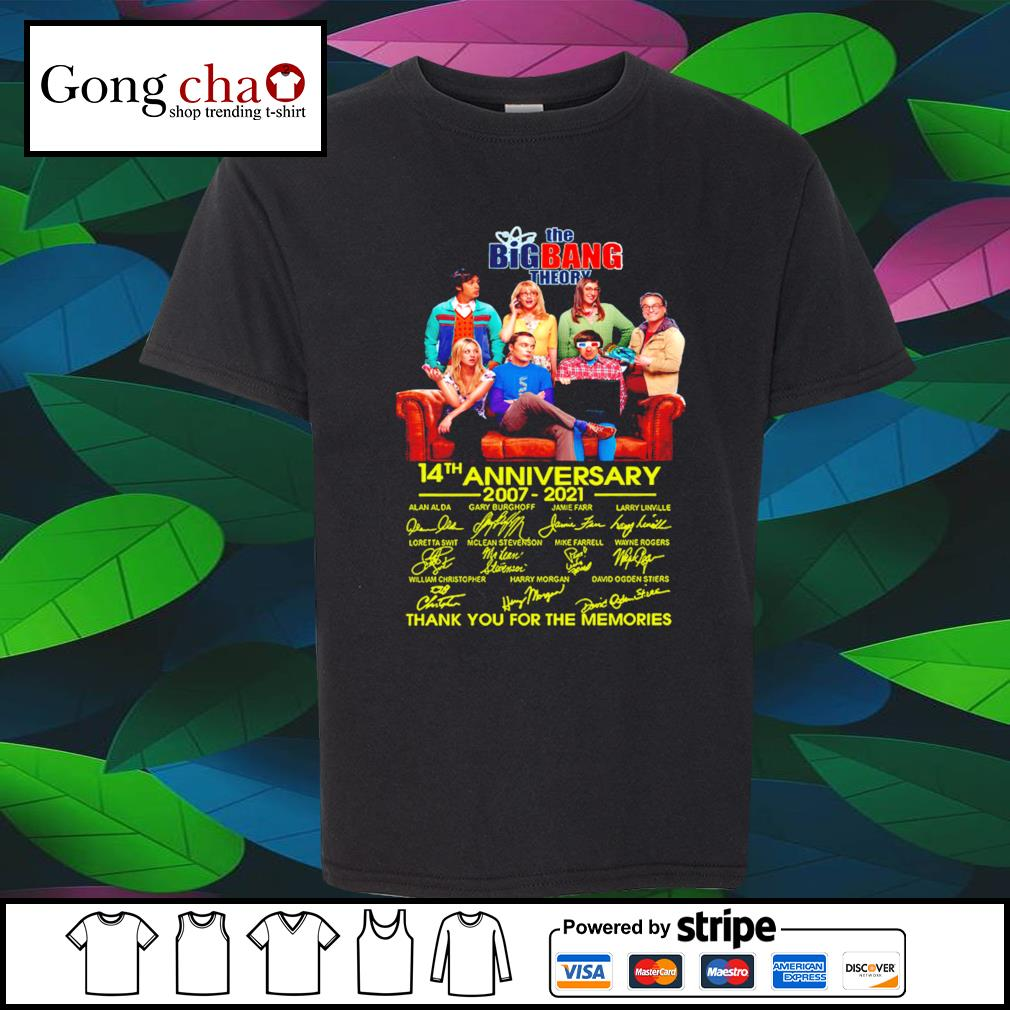 The Big Bang Theory 14th anniversary 2007 2021 thank you for the memories shirt