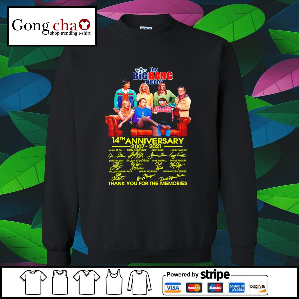 The Big Bang Theory 14th anniversary 2007 2021 thank you for the memories s sweater