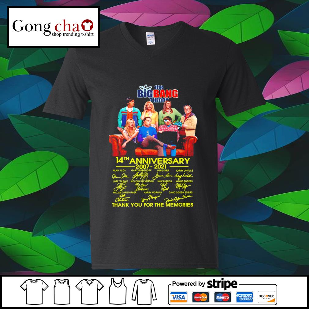 The Big Bang Theory 14th anniversary 2007 2021 thank you for the memories s v-neck-t-shirt