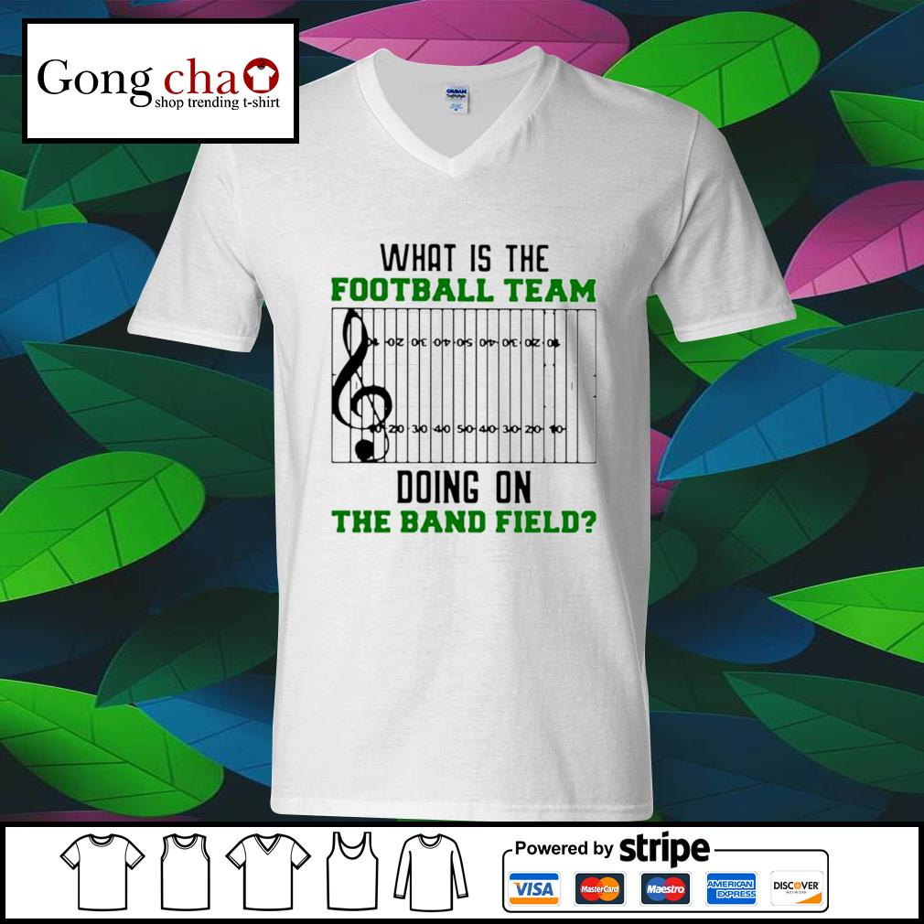 What is the football team doing on the band field s ladies-tee