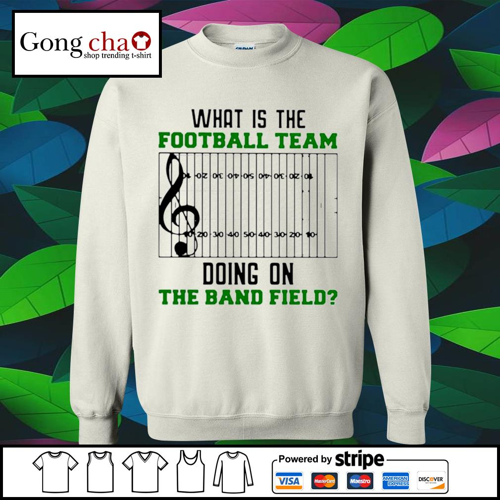What is the football team doing on the band field s sweater
